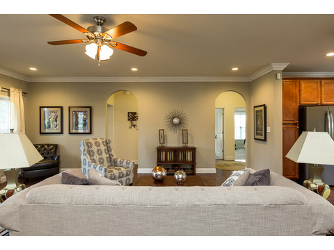 Graceful arched entries to the private areas of the Greenbrier modular home is a Palm Harbor model built by Nationwide Homes. Beautiful full porch and 3 Bedrooms, 2 Baths, 1,978 Sq. Ft.