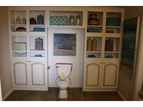 Built-in storage in master bath - Barbados T3646T by Palm Harbor Homes
