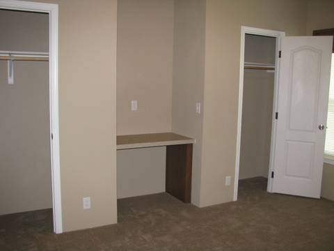 Bedroom #2 with Dual Closets and Built-In Desk. Perfect for your school age child OR make this room your office!!