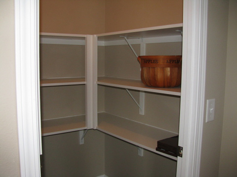 BIG walk-in pantry with nice built-in shelving!!!