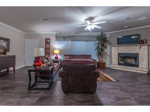 Fireplace in the The Canyon Bay II manufactured home - 4 Bedrooms, 2 Baths, 2,356 Sq. Ft. - by Palm Harbor Homes