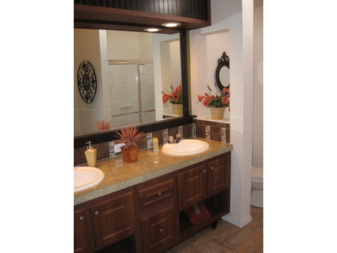 This master bath is second to none in features, style and comfort. - American Dream 66', Palm Harbor Homes