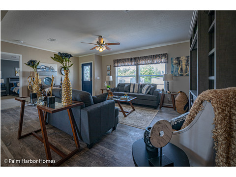 Beautiful family room with tons of natural light from the big windows!! - The Kensington MLP356A6 or ML28563K manufactured home by Palm Harbor Homes - www.palmharbor.com