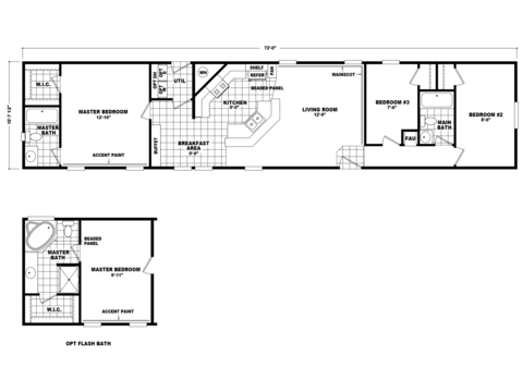 >Standard floor plan with optional flash bath in master suite