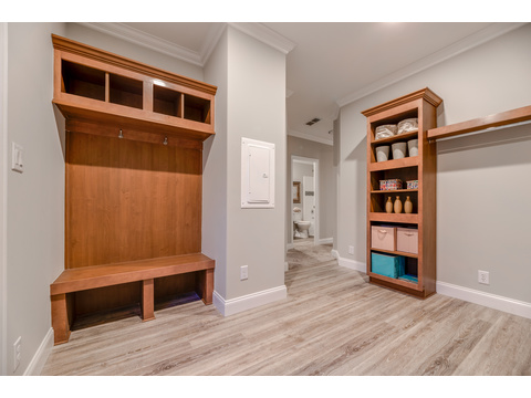 Mudroom bench in the utility room - The Tradewinds by Palm Harbor Homes