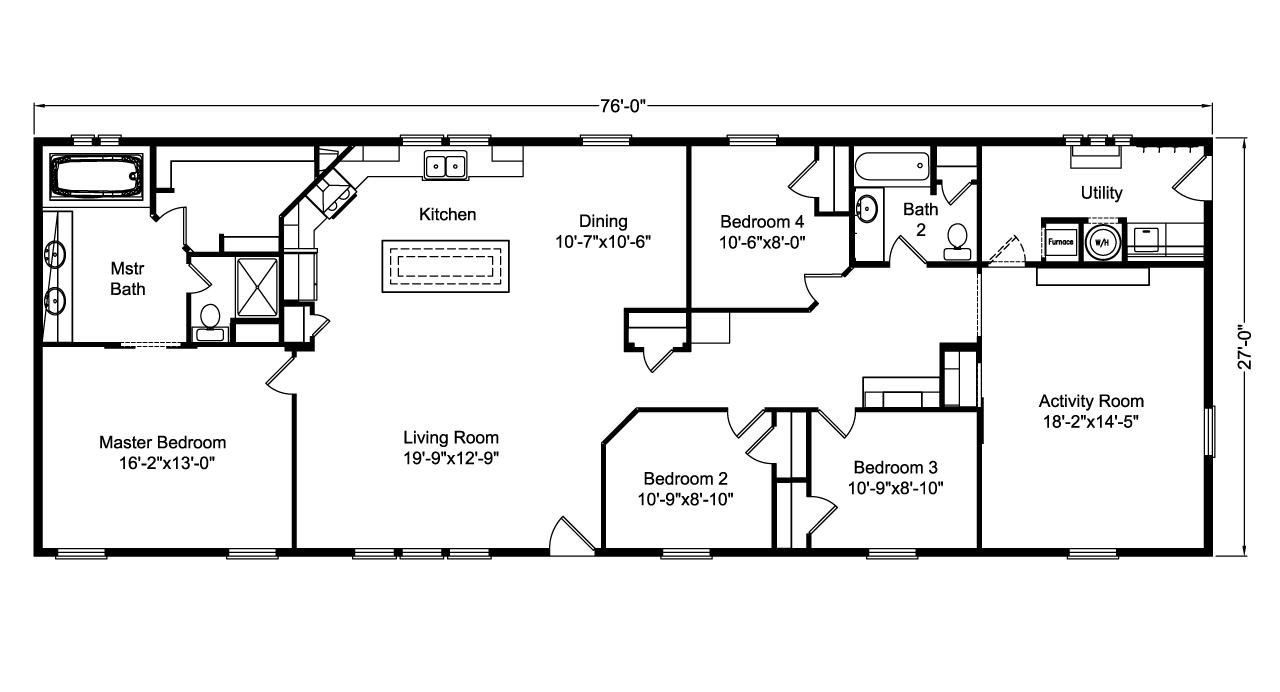 view 28764a floor plan for a 2052 sq ft palm harbor manufactured