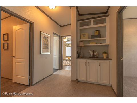 Built-in storage in hallway - The Carrington 76 Model ML30764C by Palm Harbor Homes