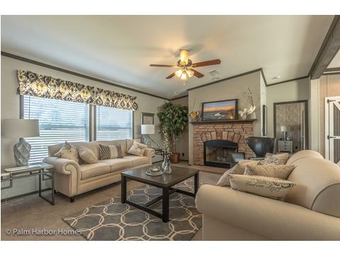 Living room with optional fireplace - The Carrington 76 Model ML30764C by Palm Harbor Homes