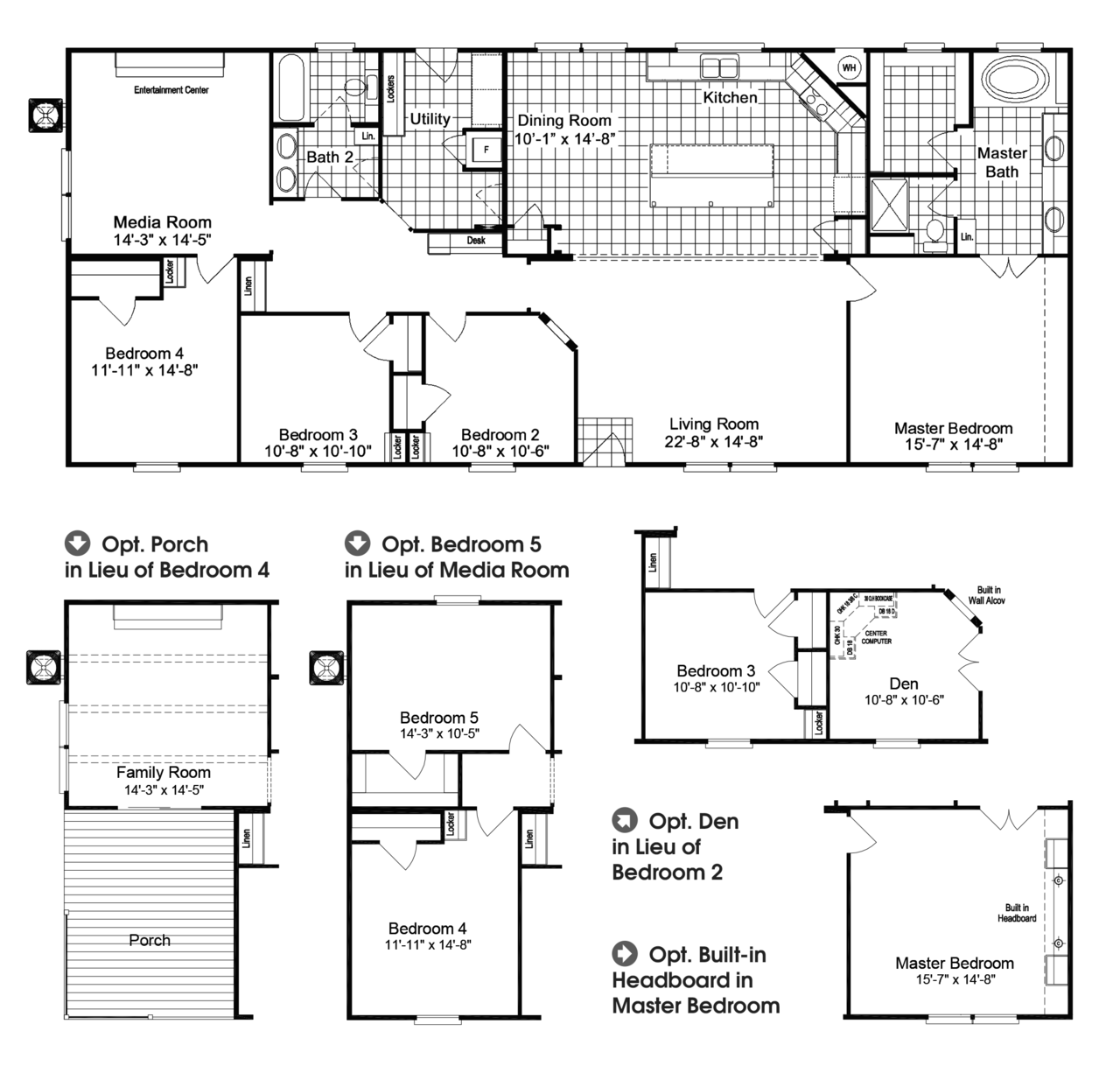Click or Tap Image to Zoom In. The Homerun HR30724R or FT32724A manufactured home floor plan or