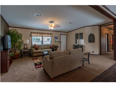 This oversized Living Room in the Homerun manufactured home by Palm Harbor gives you the right amount of space to fit the largest furniture and still have room to move around..