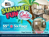"For a limited time, purchase a new Palm Harbor home and choose a Six Flags® VIP Experience for 2 or a 55"" flatscreen TV."