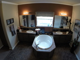 Master bath with dual vanities and dual drawer banks--no sharing!