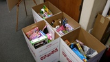 4 boxes of toy donations!  5 empty boxes left to fill!  The kids - - and the Marines - - are counting on you!