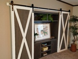 Hide-Away Barn Door Entertainment Center