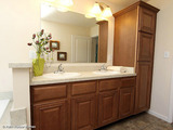 The Noble, master bath vanity built-ins