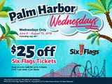 Stop by on Wednesdays to pick up a Six Flag voucher good for $25 for up to 4 people!  Now thru August 15, 2018