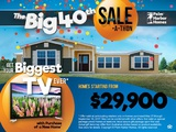 "Get HUGE savings PLUS an ENORMOUS 65"" 4K Television and your choice of a Roomba or an Xbox or a chest freezer when you purchase a new Palm Harbor home this weekend!"